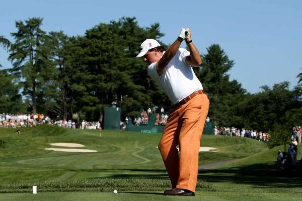 BETHESDA, MD - JUNE 14: Phil Mickelson hits