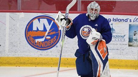 New York Islanders goaltender Robin Lehner looks on