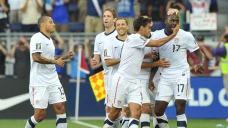 Jozy Altidore of the United States, right, and