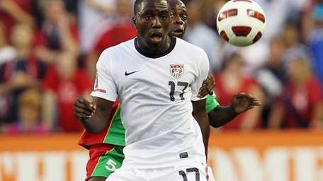 Jozy Altidore of the United States battles Eddy