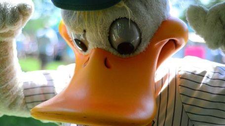 Quackerjack, the mascot of the Long Island ducks,