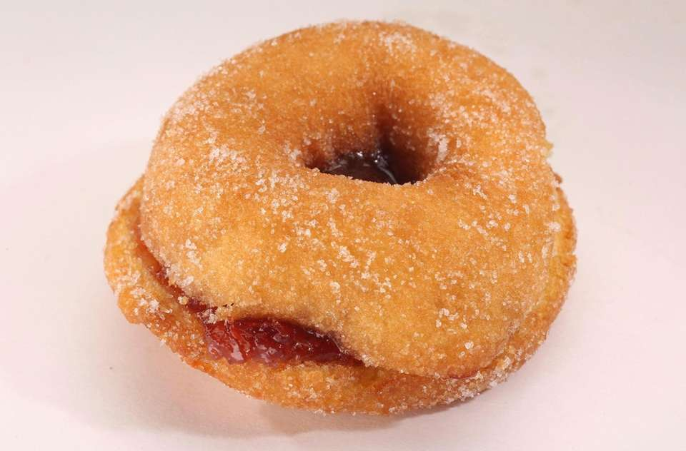 A peanut butter and jelly doughnut from the
