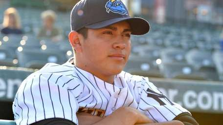 Trenton Thunder pitcher Manny Banuelos (13) poses for
