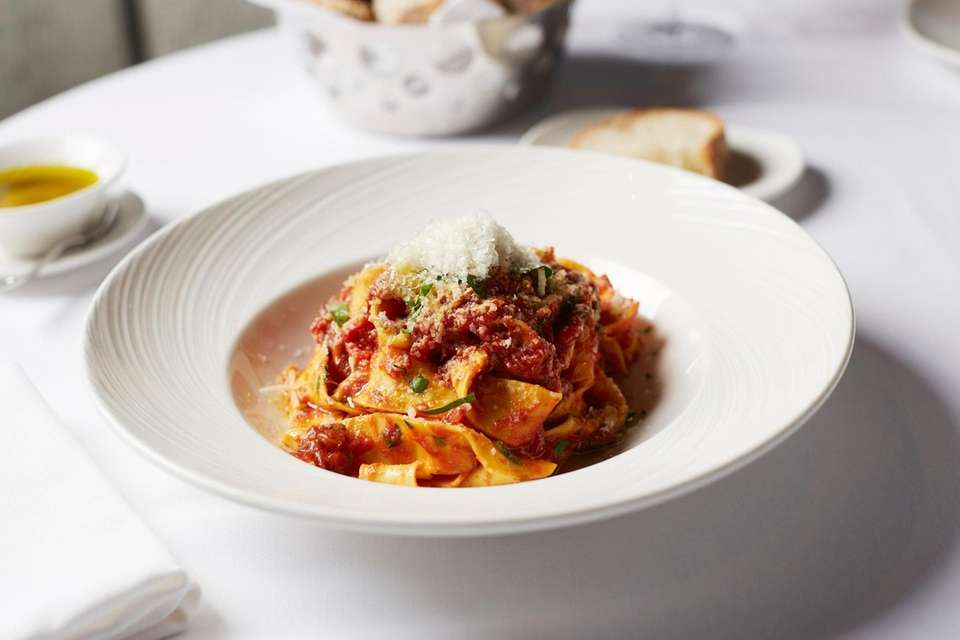 Savory pappardelle Bolognese, with a ragu made from