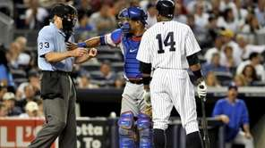 Rangers catcher Yorvit Torrealba gives a friendly pat