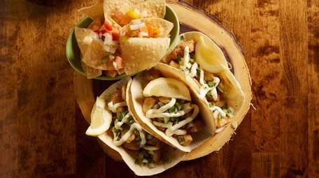 Fish tacos filled with coppery, crisp fried tilapia
