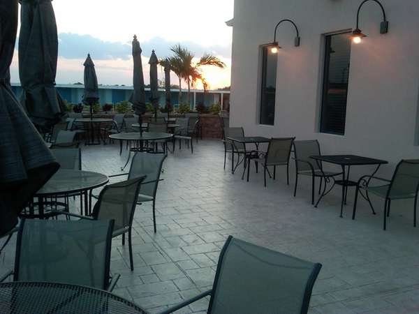 Sunset on the patio of Maliblue, pre-opening