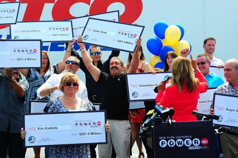 New York Lottery's Yolanda Vega awards the $201.9-million