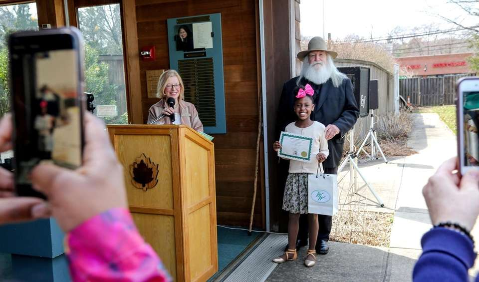 Neliah Cherisme, 10, from East Meadow, holds her