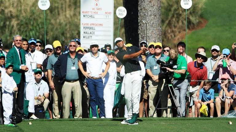 Tony Finau of the United States plays a