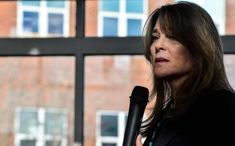 Marianne Williamson, a Democrat from Iowa, makes a