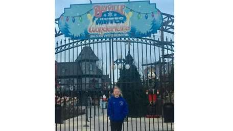Kidsday reporter Kaitlyn O'Brien outside Bayville Adventure Park.