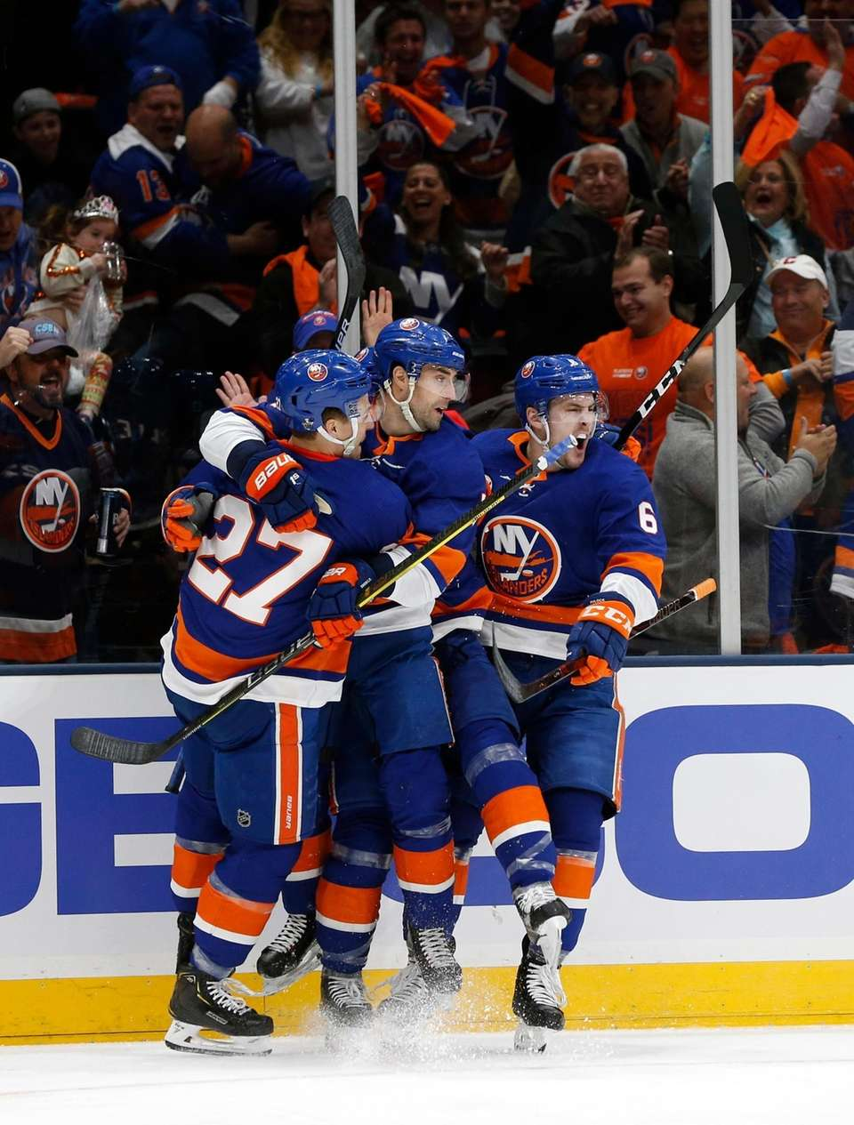 Islanders right wing Jordan Eberle celebrates with teammates