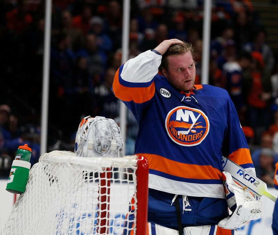 Islanders goaltender Robin Lehner (40) during the second