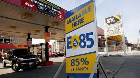 A sign advertises the availability of ethanol E85