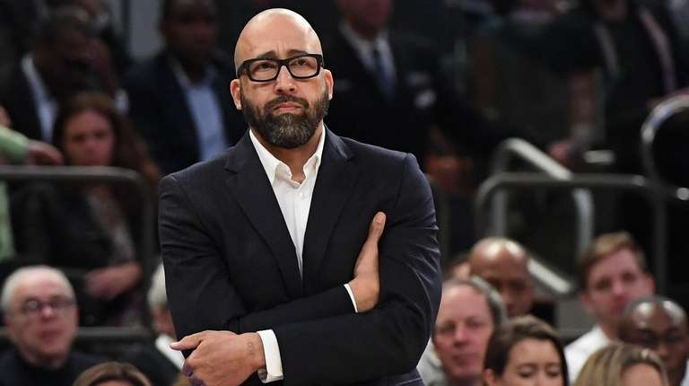 Knicks head coach David Fizdale looks on during
