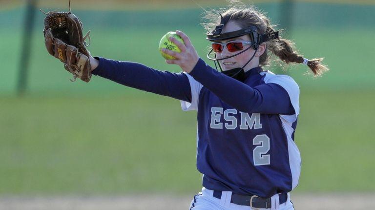 Starting pitcher Nikki Caesar of Eastport-South Manor delivers