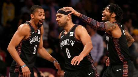 Jared Dudley #6 of the Nets celebrates a