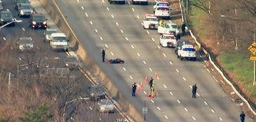 The crash scene on Laurelton Parkway in Queens