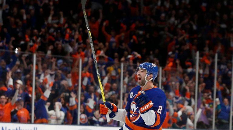 Islanders defenseman Nick Leddy celebrates the go-ahead goal