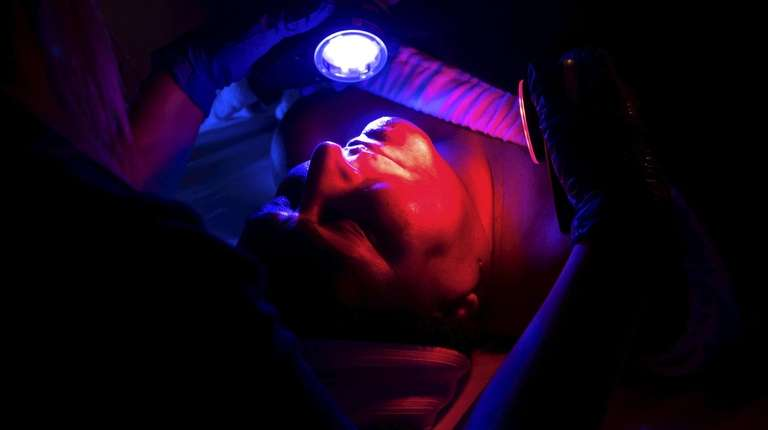 Marcia Blake, of Huntington, gets a hydro-facial with