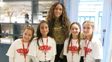 Singer Skylar Stecker with Kidsday reporters Daniella Reyes,