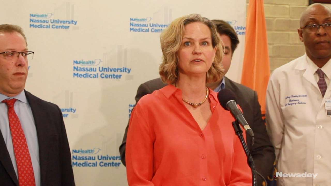 Nassau County Executive Laura Curran, speaking at a news conference