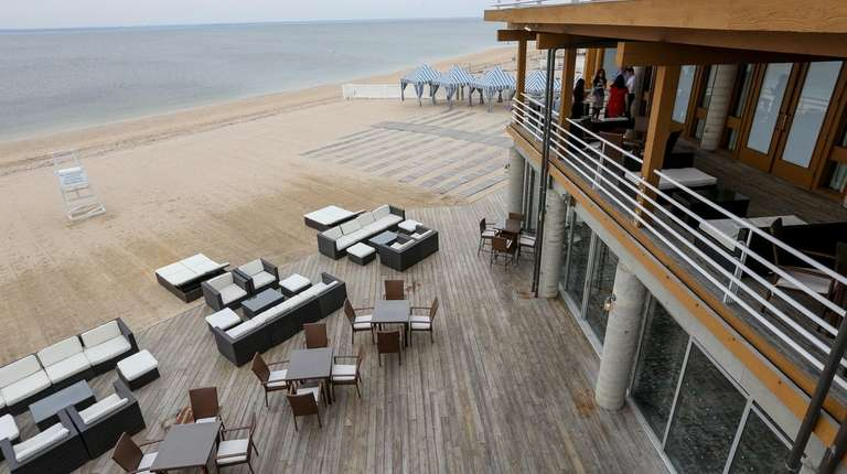 The back deck and beach at the Crescent