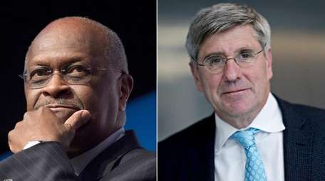 Businessman Herman Cain and commentator Stephen Moore, right,