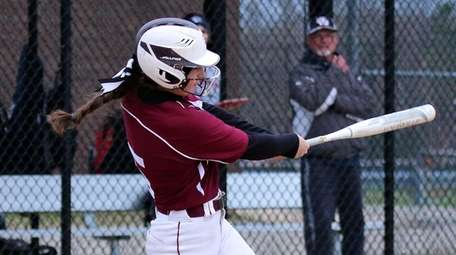 Bay Shore's Julia Carpenter watches the flight of