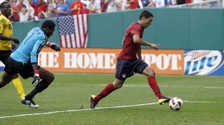 Jamaica goalkeeper Donovan Ricketts can't stop a goal