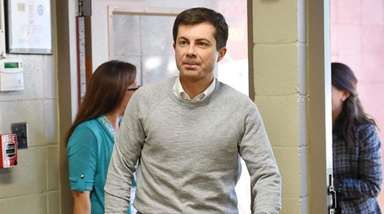 South Bend Mayor Pete Buttigieg arrives to speak