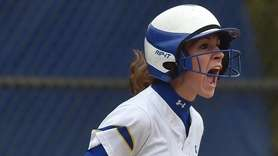 Stephanie Conrade #22 of Kellenberg reacts after crossing