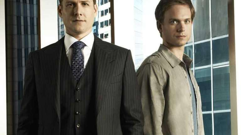 Pictured: (l-r) Gabriel Macht as Harvey Specter, Patrick