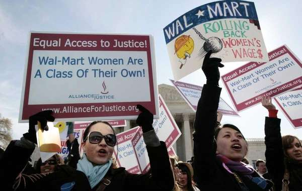 Protesters outside the Supreme Court building during arguments