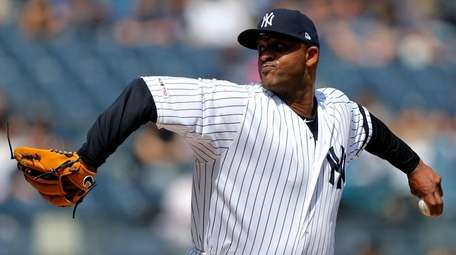CC Sabathia of the Yankees pitches during the