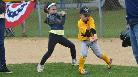 Kids practice their swings at Wantagh Little League