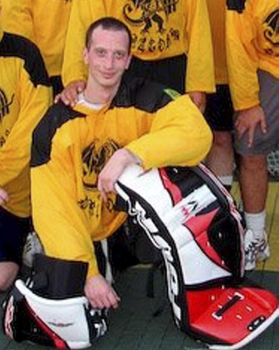 David Laffer, an avid hockey fan, is shown