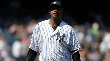 CC Sabathia #52 of the Yankees walks to