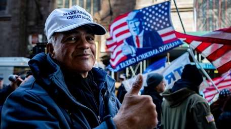 About 300 Trump supporters gathered outside Trump Tower