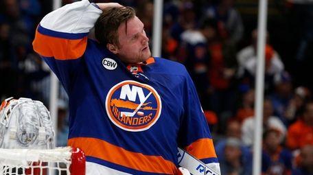 Islanders goaltender Robin Lehner (40) during the second