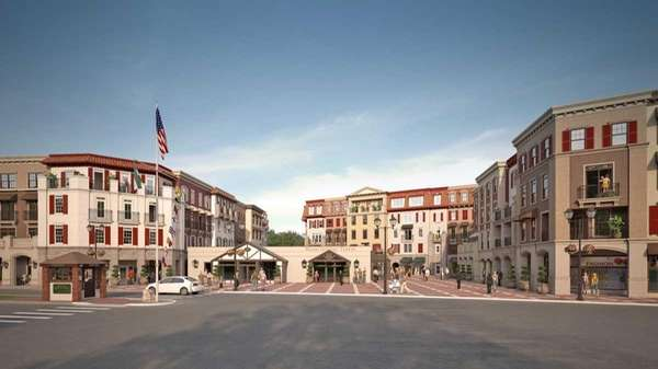 An artist rendering of the proposed Village Piazza