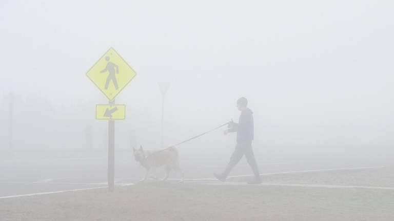 A man walks his dog in thick fog