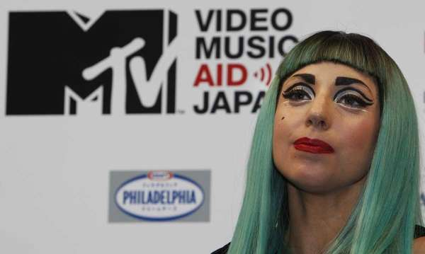 Lady Gaga attends a press conference to promote