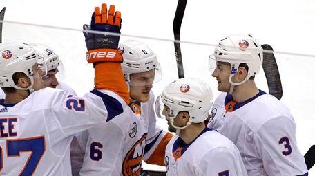 Islanders' Jordan Eberle (7) celebrates his goal during