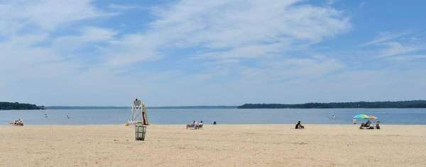 A few scant sunbathers take to Steers Beach