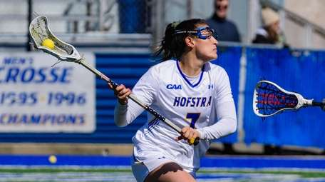 Hofstra's Alyssa Parrella goes to the goal during