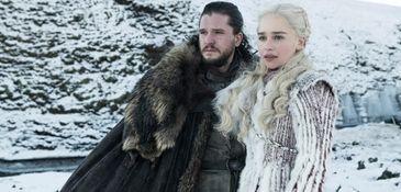Kit Harington as Jon Snow and Emilia Clarke