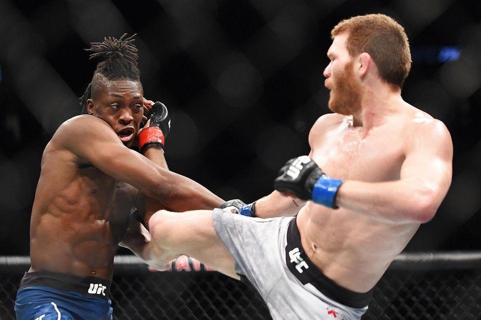 Matt Frevola kicks Jalin Turner during the UFC