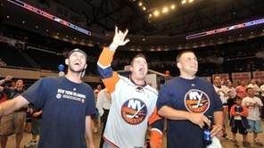 New York Islanders fans, from left: Steven Nosomowitz